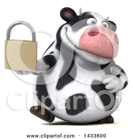 Clipart of a 3d Chubby Cow Holding a Padlock, on a White Background - Royalty Free Illustration by Julos