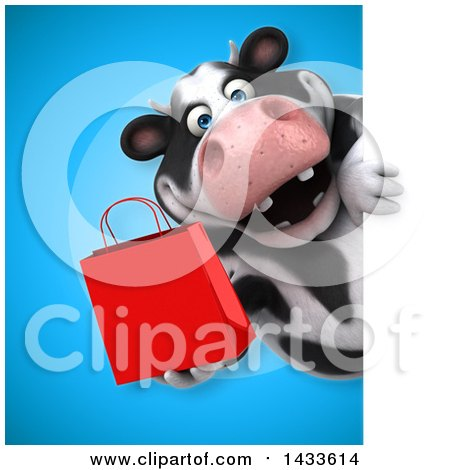 Clipart of a 3d Chubby Cow Holding a Shopping Bag - Royalty Free Illustration by Julos