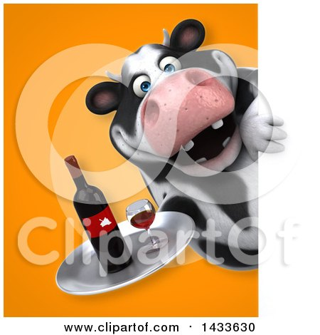 Clipart of a 3d Chubby Cow Holding a Wine Tray - Royalty Free Illustration by Julos