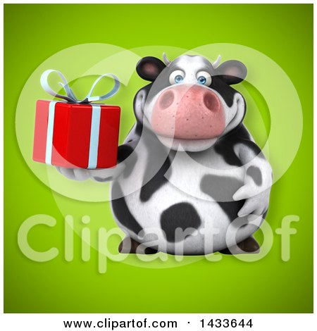 Clipart of a 3d Chubby Cow Holding a Gift - Royalty Free Illustration by Julos
