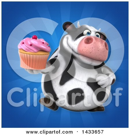Clipart of a 3d Chubby Cow Holding a Cupcake - Royalty Free Illustration by Julos
