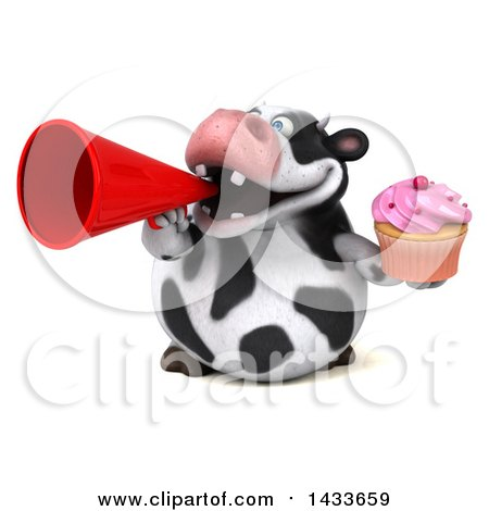 Clipart of a 3d Chubby Cow Holding a Cupcake, on a White Background - Royalty Free Illustration by Julos