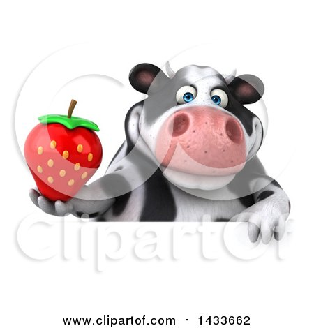 Clipart of a 3d Chubby Cow Holding a Strawberry, on a White Background - Royalty Free Illustration by Julos