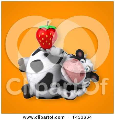 Clipart of a 3d Chubby Cow Holding a Strawberry - Royalty Free Illustration by Julos
