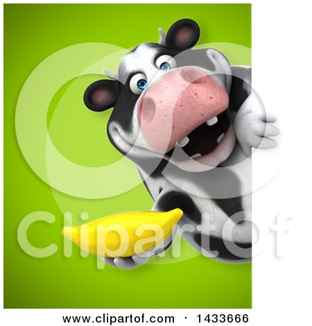 Clipart of a 3d Chubby Cow Holding a Banana - Royalty Free Illustration by Julos