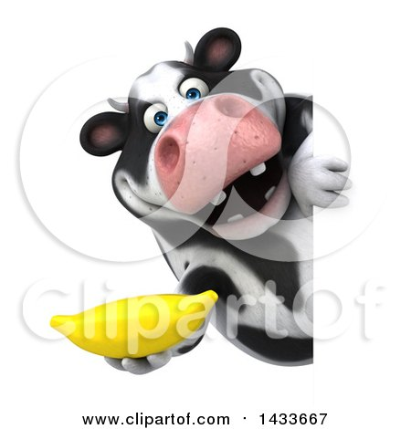 Clipart of a 3d Chubby Cow Holding a Banana, on a White Background - Royalty Free Illustration by Julos