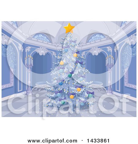 Clipart of a Beautiful Flocked Christmas Tree in a Palace Interior - Royalty Free Vector Illustration by Pushkin