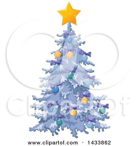 Clipart Of A Beautiful Flocked Christmas Tree Decorated With Purple Bows Baubles And A Star Royalty Free Vector Illustration