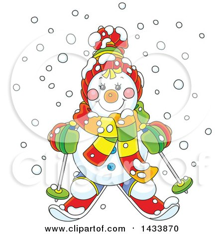 Clipart of a Cartoon Happy Snowman Wearing Winter Accessories and Skiing in the Snow - Royalty Free Vector Illustration by Alex Bannykh
