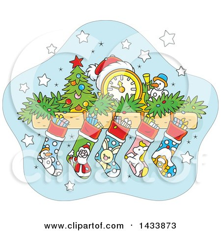 Clipart Of A Cartoon Mandle With A Clock Tiny Christmas Tree Snowman Garland And Stockings Royalty Free Vector Illustration