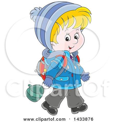 Clipart of a Cartoon Happy Blond Caucasian School Boy Walking in Winter Apparel - Royalty Free Vector Illustration by Alex Bannykh