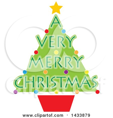 Clipart of a Potted Tree with a Very Merry Christmas Text - Royalty Free Vector Illustration by Maria Bell