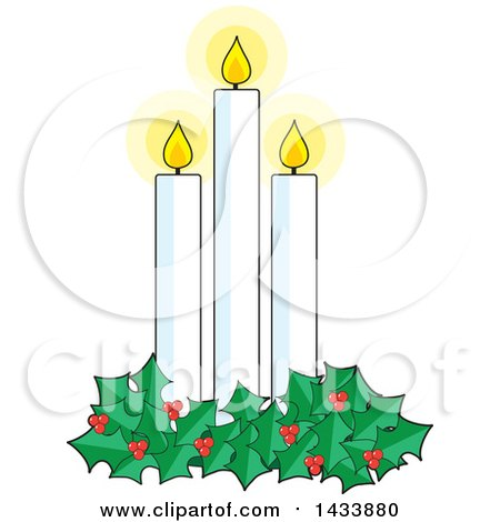 Clipart Of A Holly Garland Around Three Lit Christmas Candles Royalty Free Vector Illustration