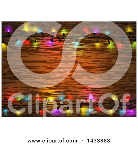 Clipart of a Frame of Colorful String Christmas Lights Around Wood Text Space - Royalty Free Vector Illustration by dero