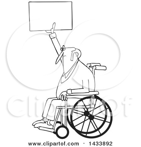 Clipart of a Cartoon Black and White Lineart Senior Male Protester in a Wheelchair, Holding up a Sign - Royalty Free Vector Illustration by djart