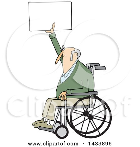 Clipart of a Cartoon White Senior Male Protester in a Wheelchair, Holding up a Sign - Royalty Free Vector Illustration by djart
