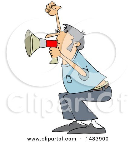 Clipart of a Cartoon White Male Protester Shouting into a Megaphone - Royalty Free Vector Illustration by djart