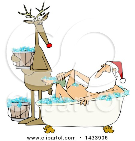 Clipart of a Cartoon Reindeer Holding a Bucket and Watching Santa Claus Washing up in a Bubble Bath - Royalty Free Vector Illustration by djart