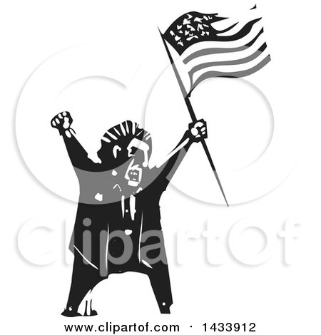 Clipart of a Black and White Woodcut Angry Man Shouting and Holding an American Flag - Royalty Free Vector Illustration by xunantunich