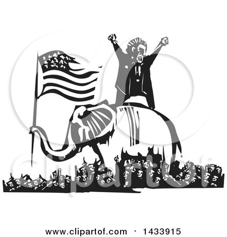Clipart of a Black and White Woodcut Angry Man Shouting on Top of an Elephant Holding the American Flag, in the Middle of a Crowd of Protestors - Royalty Free Vector Illustration by xunantunich