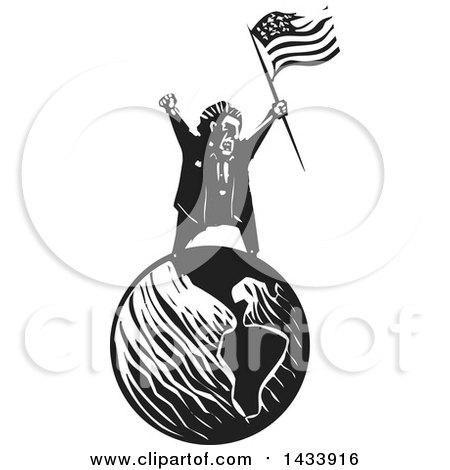 Clipart of a Black and White Woodcut Angry Man Shouting and Holding an American Flag on Top of Planet Earth - Royalty Free Vector Illustration by xunantunich