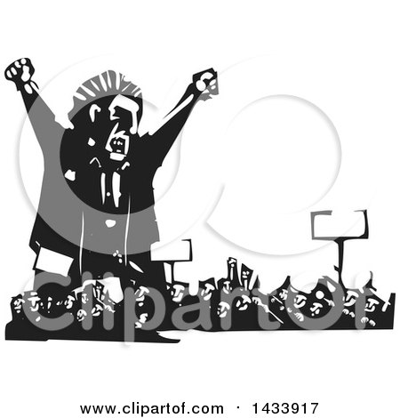 Clipart of a Black and White Woodcut Angry Man Shouting over a Crowd of Protesters - Royalty Free Vector Illustration by xunantunich