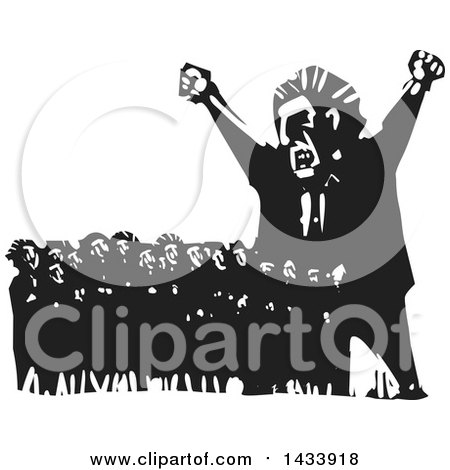 Clipart of a Black and White Woodcut Angry Man Shouting and Towering over a Crowd of Scared Protesters - Royalty Free Vector Illustration by xunantunich