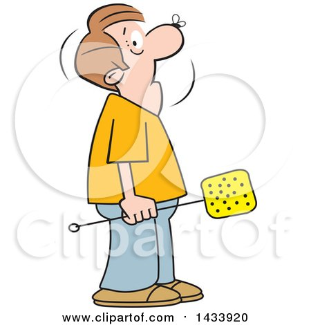 Clipart of a Cartoon Caucasian Man Holding a Swatter, with a Fly on His Nose - Royalty Free Vector Illustration by Johnny Sajem