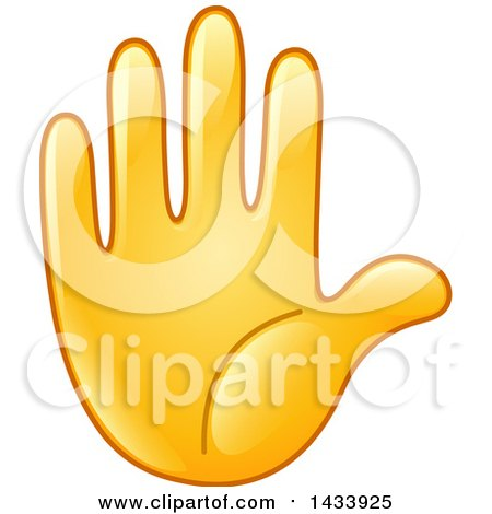 Clipart of a Cartoon Emoji Hand Counting 5, Gesturing Stop, or Raised - Royalty Free Vector Illustration by yayayoyo
