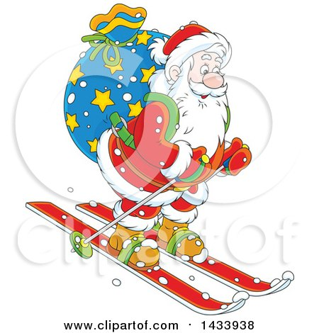 Clipart of a Cartoon Santa Claus Skiing with a Christmas Sack - Royalty Free Vector Illustration by Alex Bannykh
