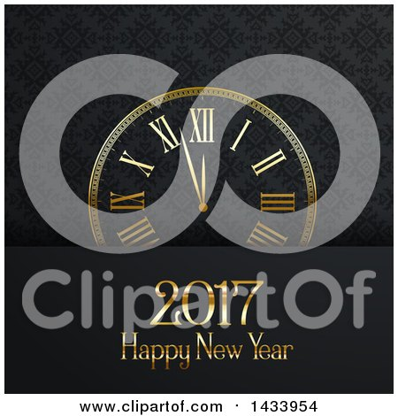 Clipart of a Happy New Year 2017 Greeting with a Clock over an Ornate Pattern - Royalty Free Vector Illustration by KJ Pargeter