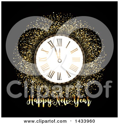 Clipart of a Happy New Year Greeting with a Clock and Gold Glitter on Black - Royalty Free Vector Illustration by KJ Pargeter
