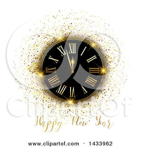 Clipart of a Happy New Year Greeting with a Clock and Gold Glitter on White - Royalty Free Vector Illustration by KJ Pargeter