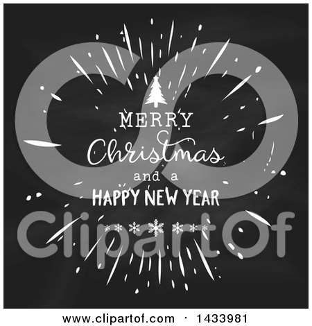 Clipart of a Merry Christmas and a Happy New Year Greeting on a Blackboard - Royalty Free Vector Illustration by KJ Pargeter