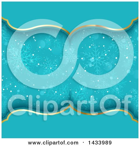 Clipart of a Beautiful Blue and Gold Background with Snowflakes - Royalty Free Vector Illustration by KJ Pargeter