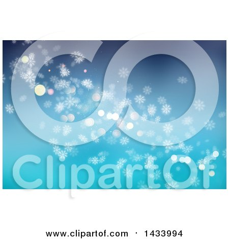 Clipart of a Blue Background with Flares and Snowflakes - Royalty Free Illustration by KJ Pargeter