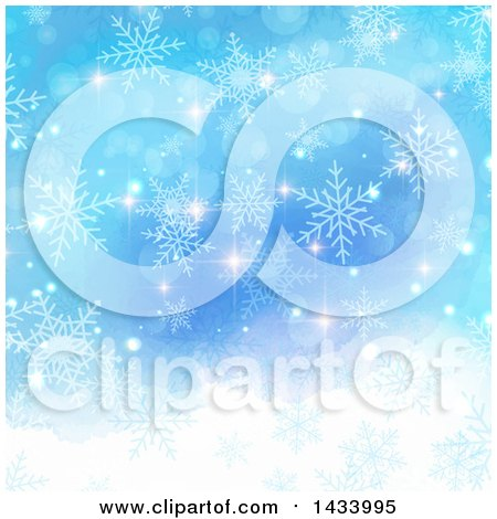 Clipart of a Gradient Blue Watercolor Background with Christmas Flares and Snowflakes - Royalty Free Vector Illustration by KJ Pargeter