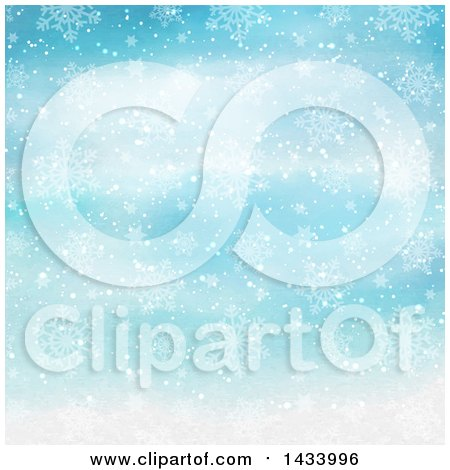 Clipart of a Watercolor Blue Background with Snowflakes - Royalty Free Vector Illustration by KJ Pargeter