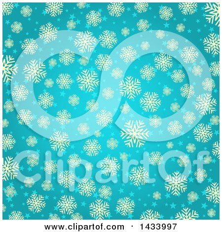 Clipart of a Beautiful Turquoise Blue Background with Tan Snowflakes and Stars - Royalty Free Vector Illustration by KJ Pargeter