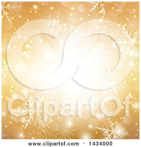 Clipart of a Gold Snowflake Background with a Central Light and Flares - Royalty Free Vector Illustration by KJ Pargeter