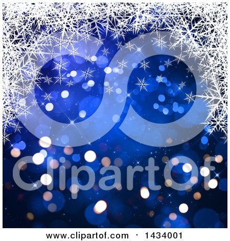 Clipart of a Beautiful Blue Background with Bokeh Flares and an Upper Border of White Snowflakes - Royalty Free Illustration by KJ Pargeter