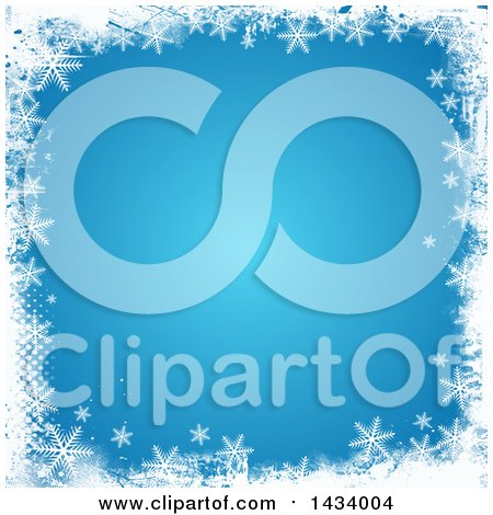 Clipart of a Blue Winter Christmas Background with a Grungy Border of White Halftone and Snowflakes - Royalty Free Vector Illustration by KJ Pargeter