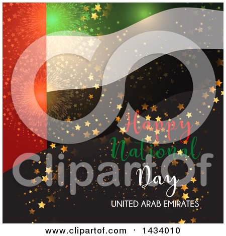 Clipart of a United Arab Emirates Happy National Day Design with a Flag, Stars and Fireworks - Royalty Free Vector Illustration by KJ Pargeter