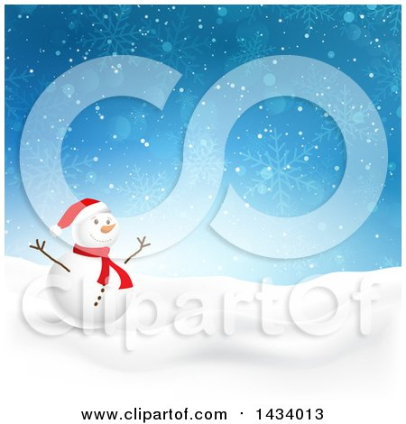 Clipart of a Happy Snowman in a Winter Landscape, with a Blue Snowflake Background - Royalty Free Vector Illustration by KJ Pargeter