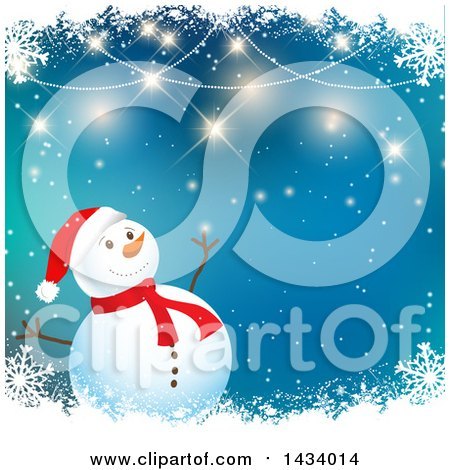 Clipart of a Happy Snowman over Blue, with Borders of Flares and Snowflakes - Royalty Free Vector Illustration by KJ Pargeter