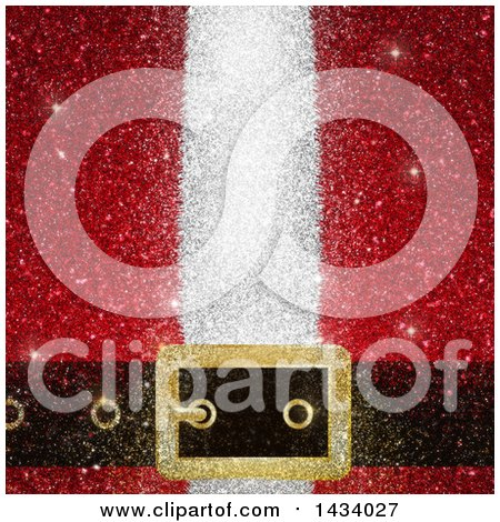 Clipart Of A Glittery Background Of Santas Suit And Belt Buckle Royalty Free Illustration