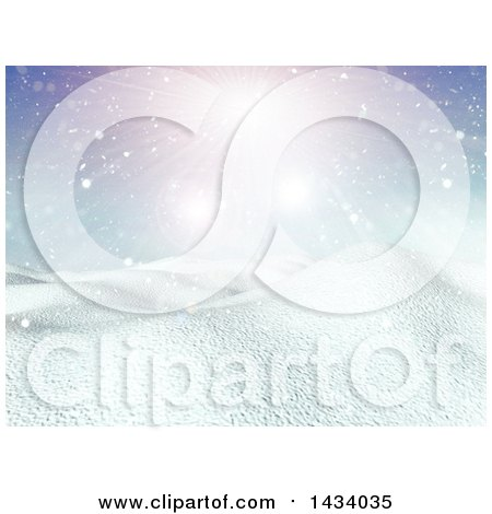 Clipart of a 3d Hilly Winter Landscape with Snow Falling and Sunshine - Royalty Free Illustration by KJ Pargeter