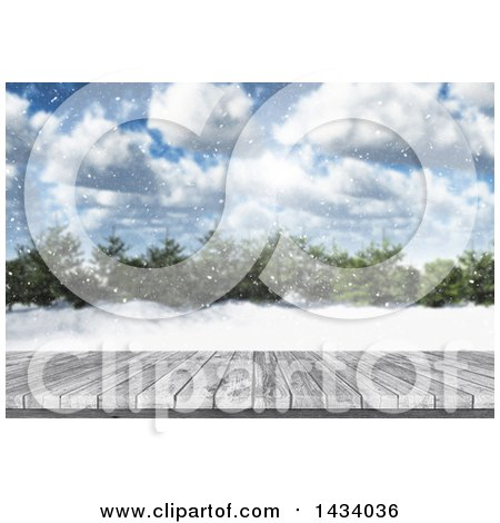 Clipart of a 3d Deck and Winter Landscape with Snow Falling, Trees and Blue Sky - Royalty Free Illustration by KJ Pargeter