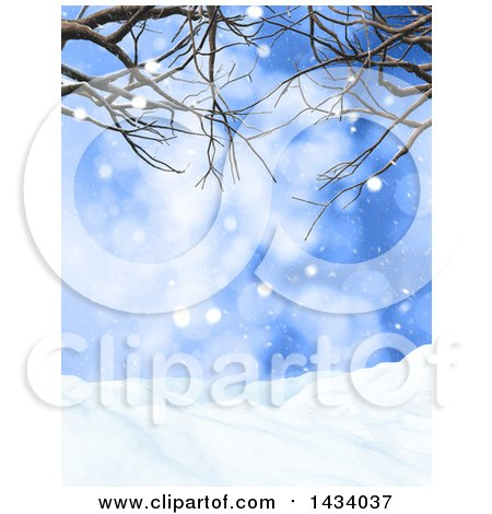 Clipart of a 3d Winter Landscape with Snow Falling, Bare Branches and Blue Sky - Royalty Free Illustration by KJ Pargeter