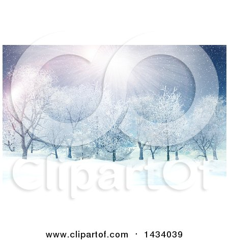 Clipart of a 3d Winter Landscape with the Sun Shining and Snow Falling over Trees - Royalty Free Illustration by KJ Pargeter